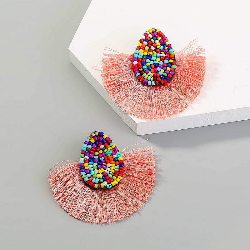 Pink Fringe Rainbow Beaded Earrings