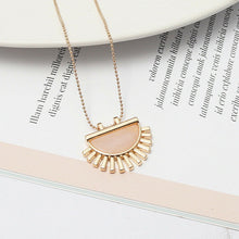 Pink Gold Natural Stone Fan Necklace