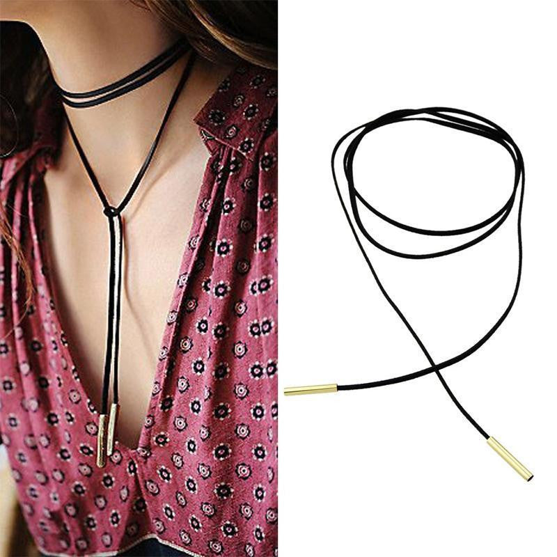 Kate Black Suede + Gold/Silver Choker Wrap Necklace