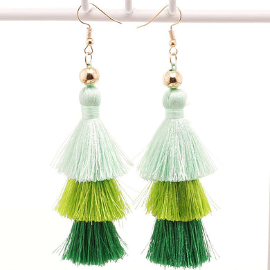 3 Layer Green Tassel Hanging Earrings