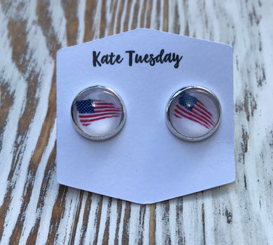 4th of July Flying Flag 10mm Earrings