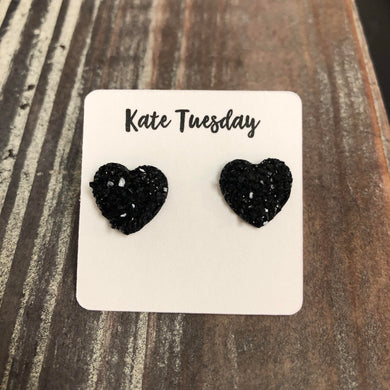 Black Druzy Heart Stud Earrings
