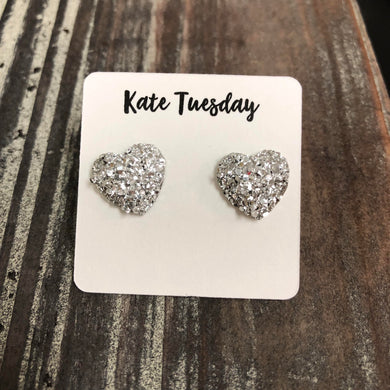 Silver Druzy Heart Stud Earrings