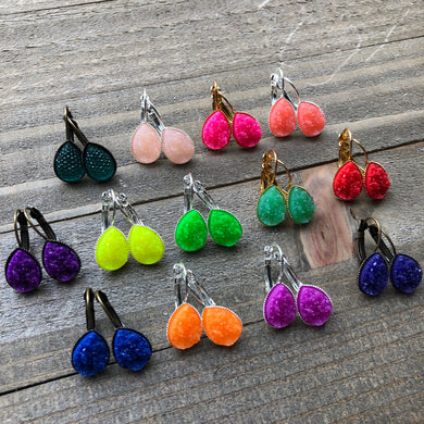 Spring Neon Bright Dangly Druzy Teardrop Earrings Dangle