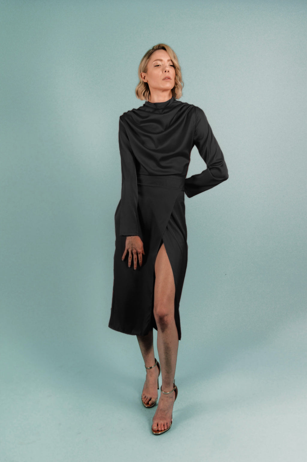 Black Silk Turtleneck Draped Midi Dress