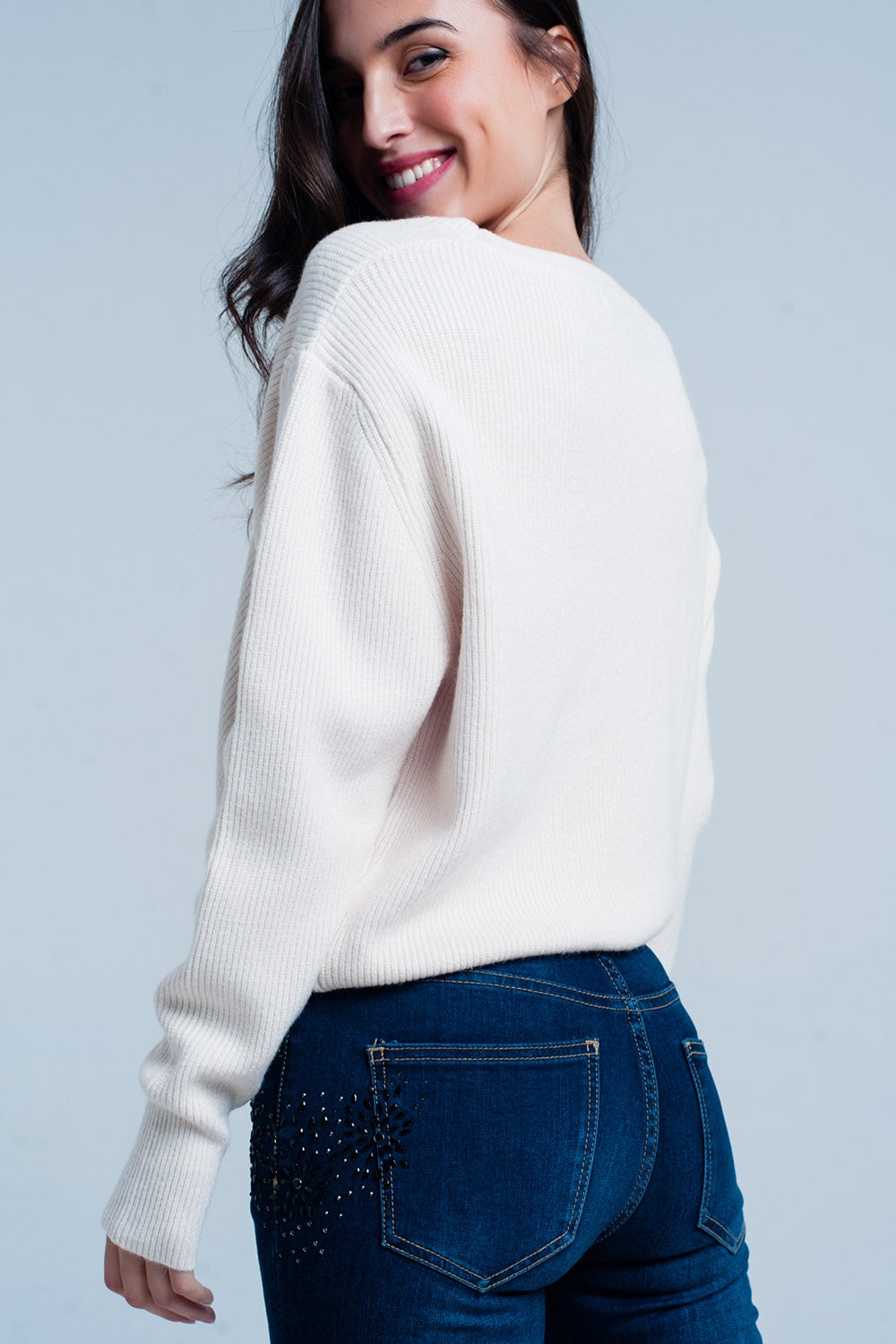 Offwhite Textured Sweater With Round Neck