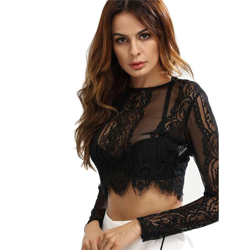 Lace Crop Zipper Back Blouse