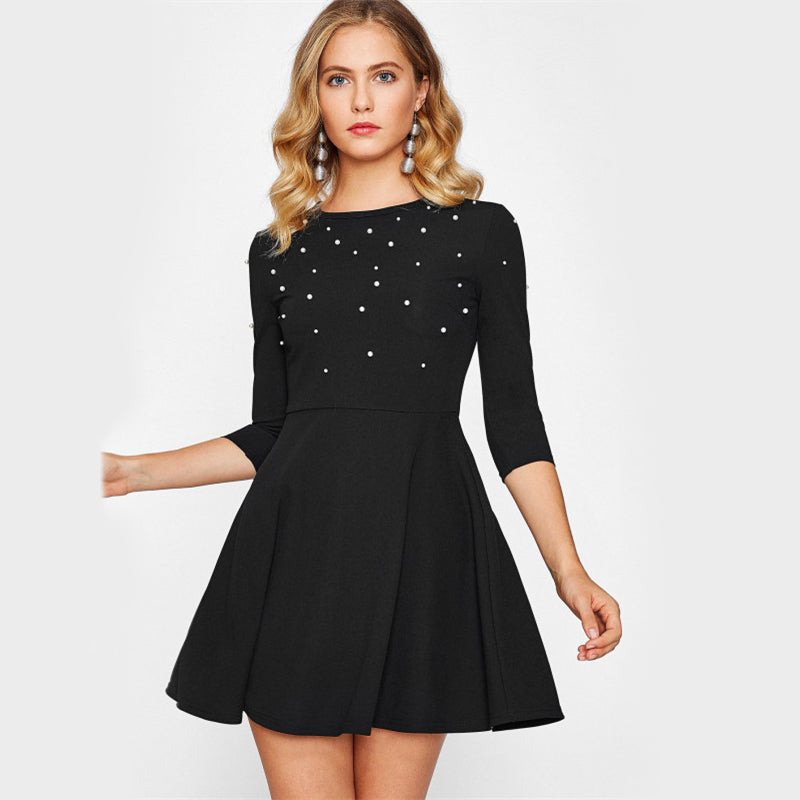 Black Elegant 3/4 Sleeve Mini Dress