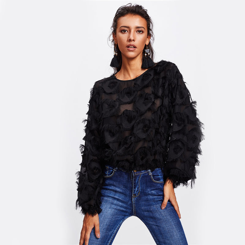 Black Dressy Fringe Patch Mesh Womens Tops