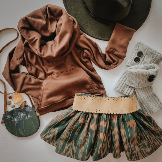 Olive Mini Folklore Skirt (4T-5yrs)