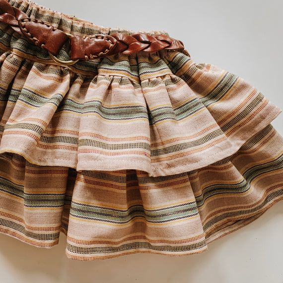 Mini Tan Folklore Skirt