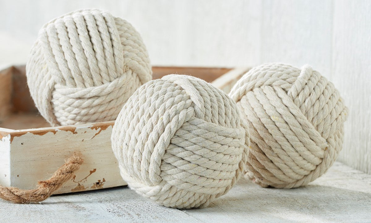 White Nautical Rope Orbs, Set of 3