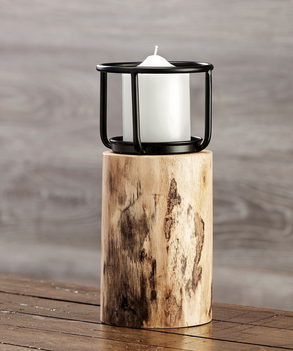 Large Wood Base Candle Holder