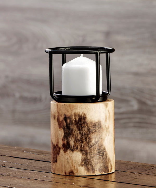 Small Rustic Candleholder w/Wood Base