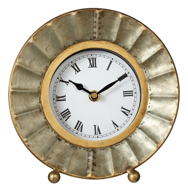 Galvanized Roman Desk Clock