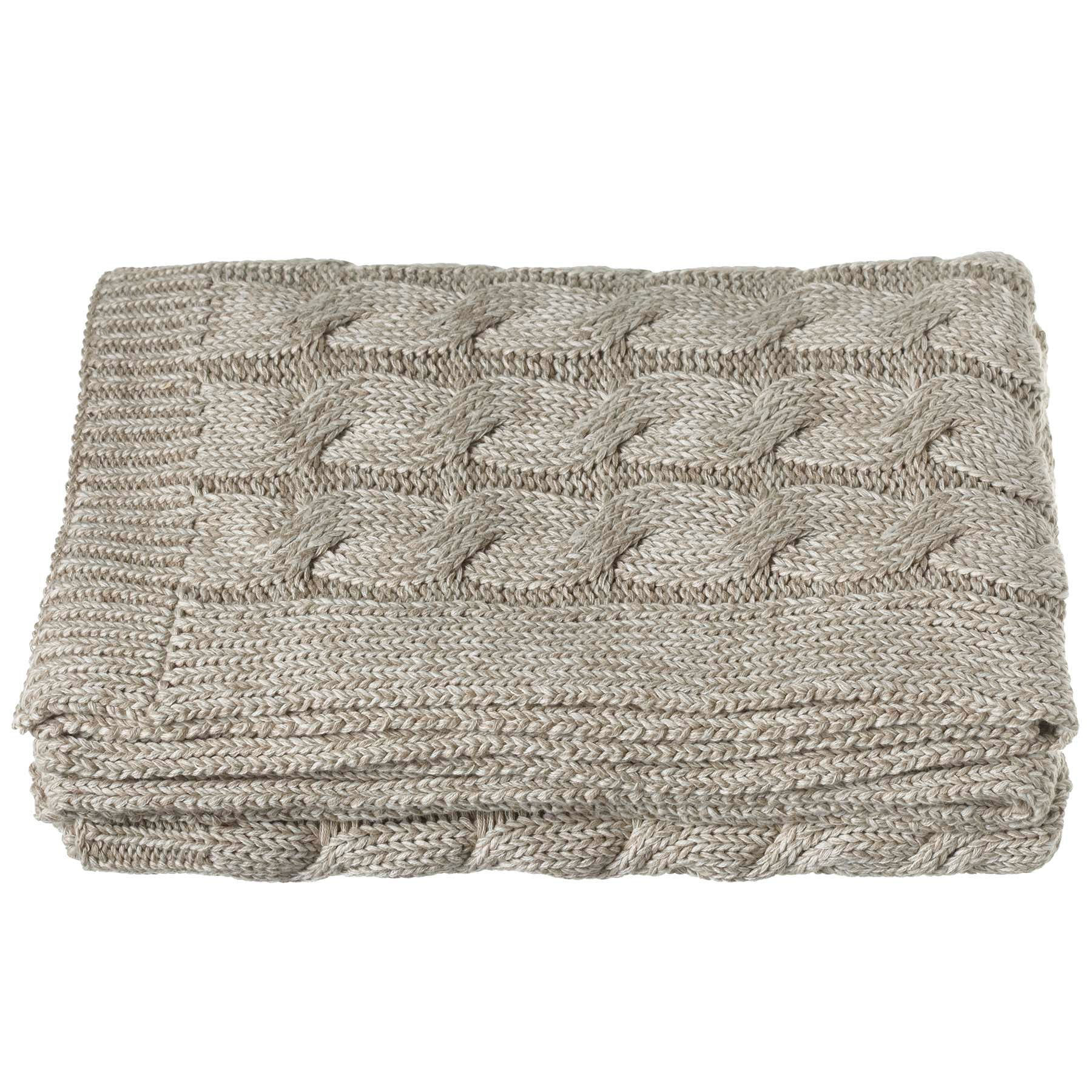 Chunky Tan Cable Knit Throw