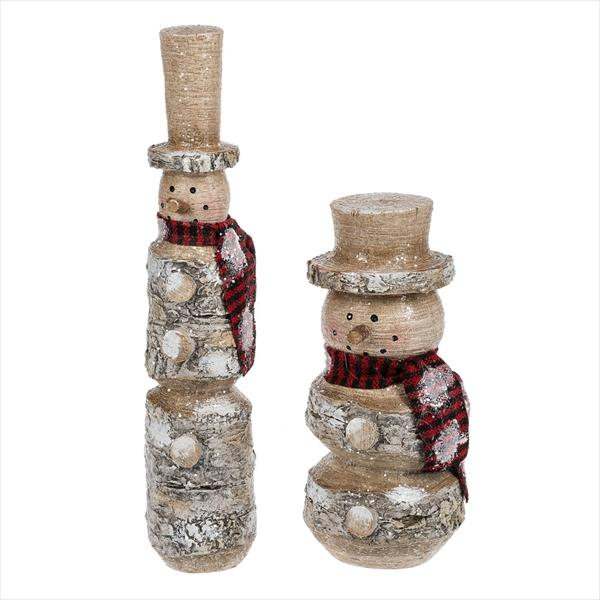 Faux Birch Snowman, Set of 2