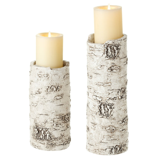 Birch Pillar Holder, Set of 2