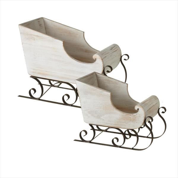 Weathered White Sleigh, Set of 2