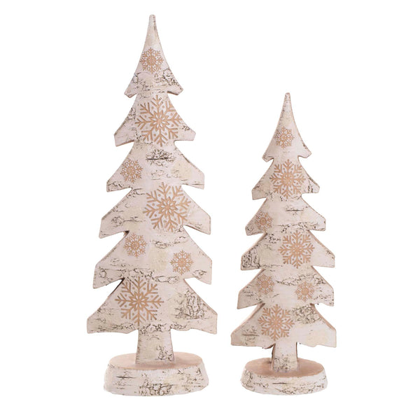 Birch Snowflake Tree, Set of 2