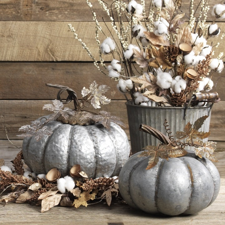 Brushed Iron Pumpkins, Set of 2
