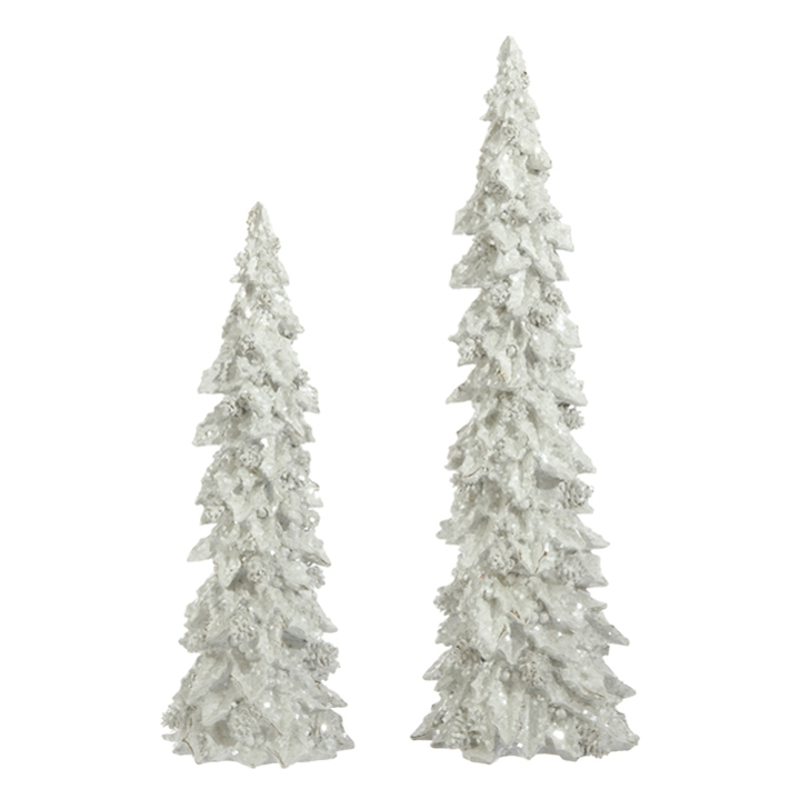 White Holly Pinecone Trees, Set of 2