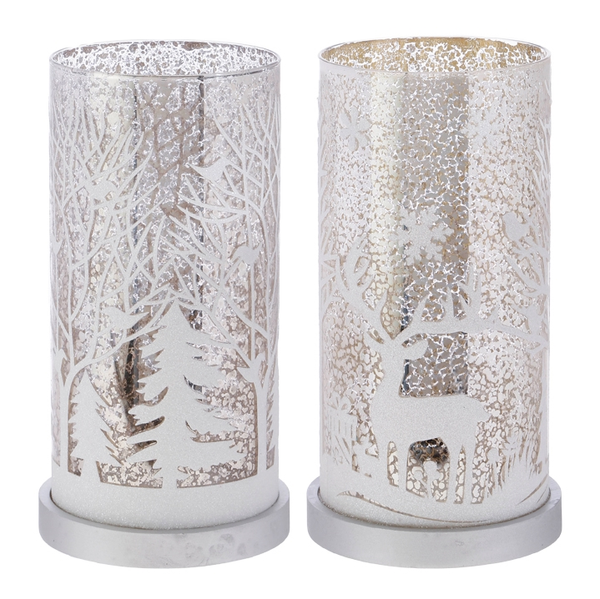 Winter Scenic Pillar Candle Holders