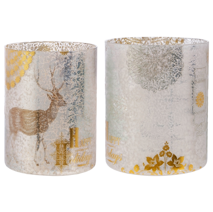Holiday Hurricane Candle Holder, Set of 2