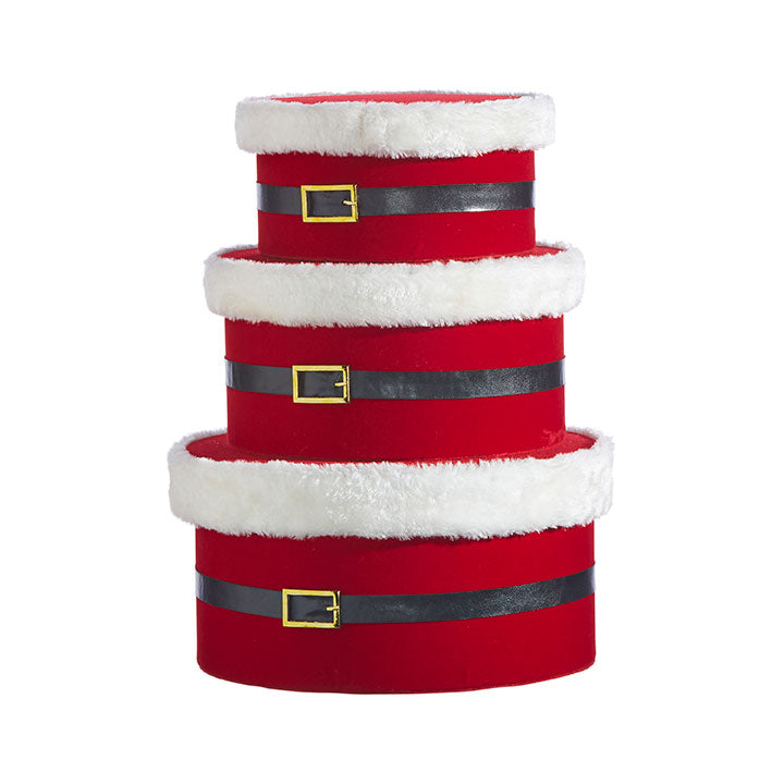 Plush Santa Belt Hat Box, Set of 3