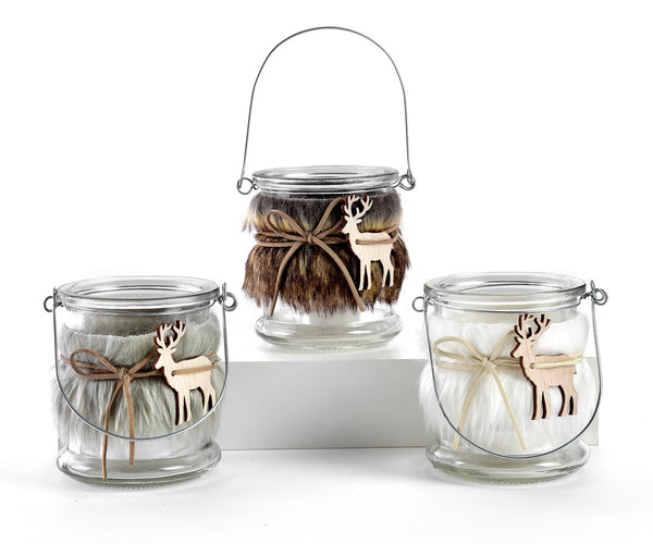 Deer Faux Fur Wrapped Candle Holder