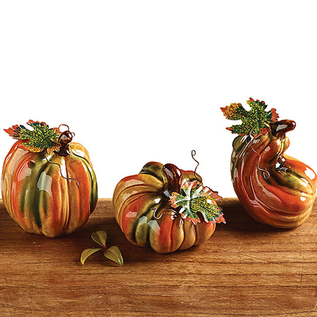 Mini Ceramic Pumpkins, Set of 3