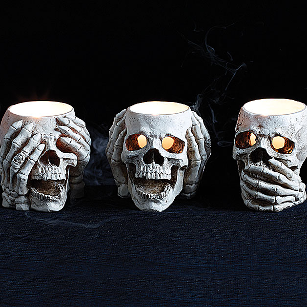 See No, Hear No, Speak No Skull Candle Holders, Set of 3