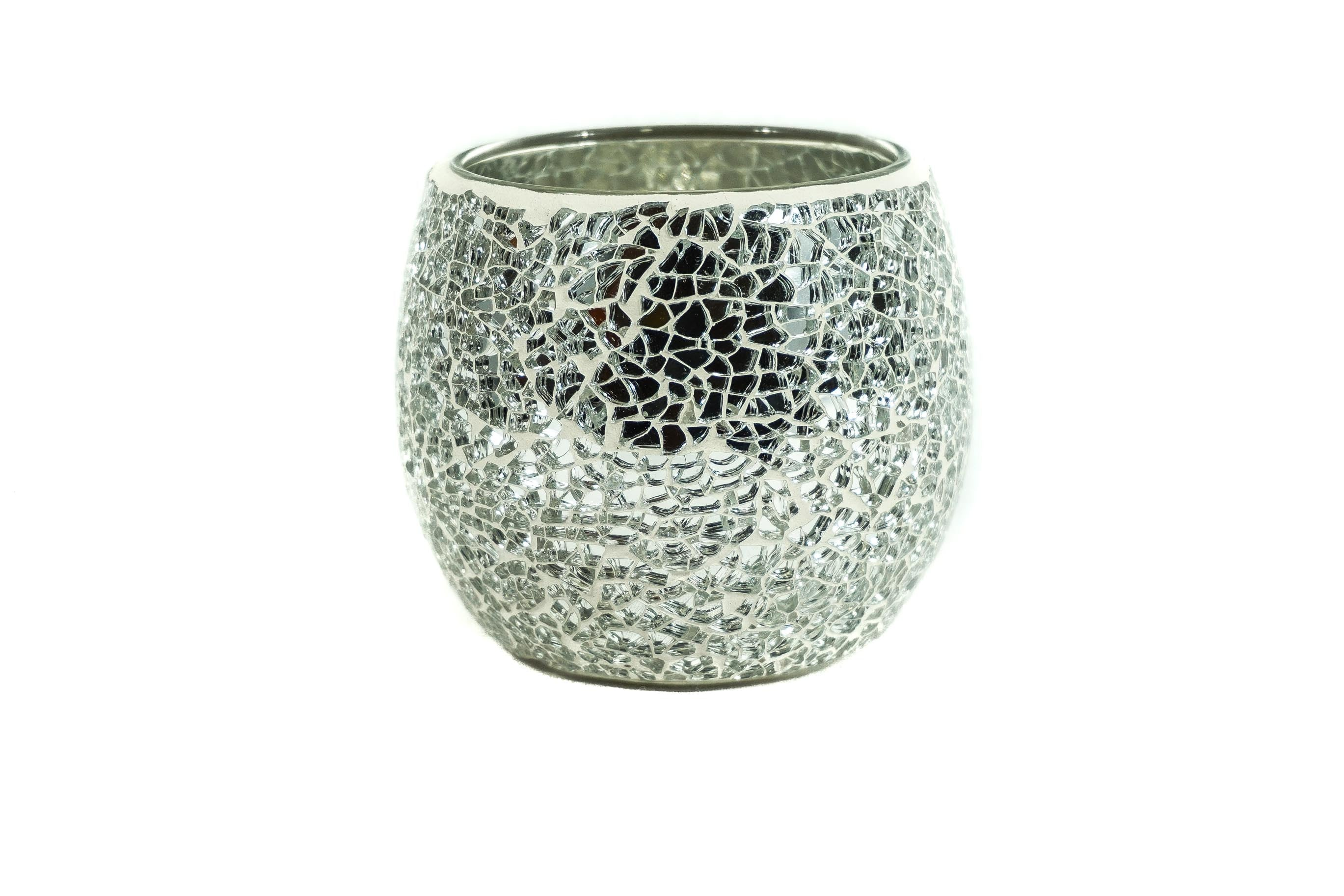 Silver mosaic candle holder