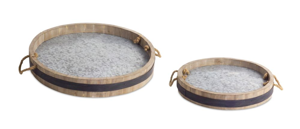 Wine Barrel Tray, Set of 2