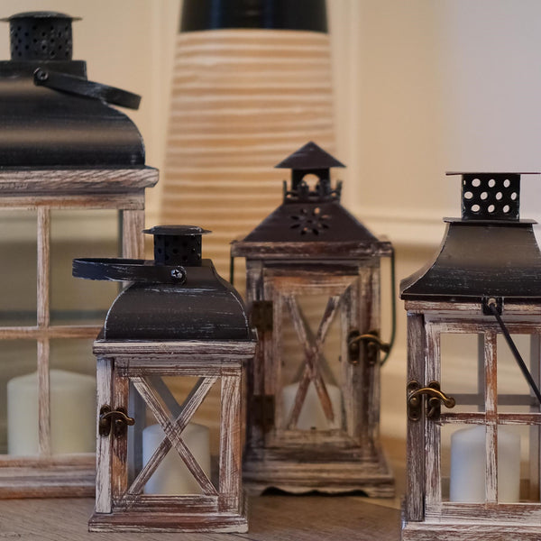 Rustic Wood Lanterns, Set of 4