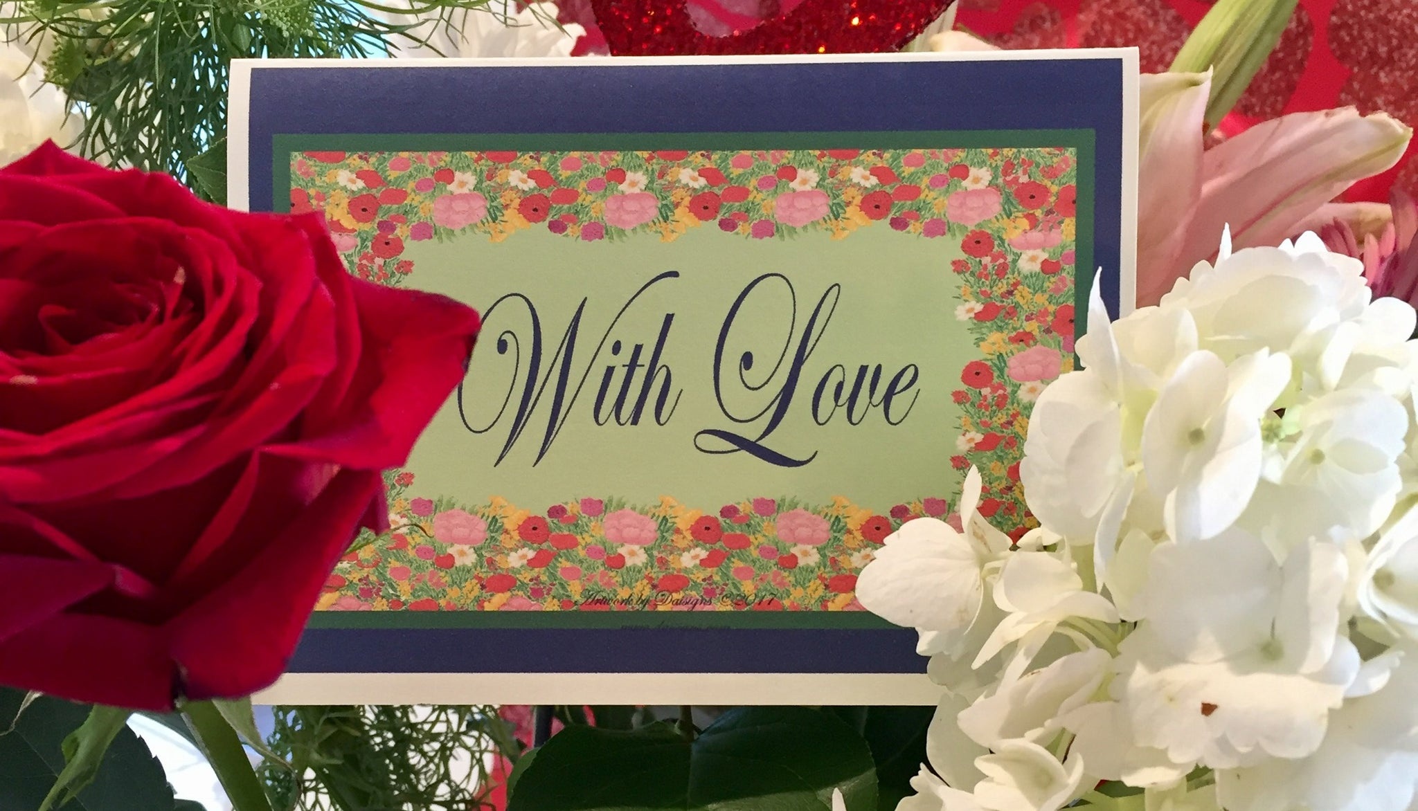 With Love Watercolor Garden Card