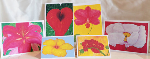 Contemporary Flower Large Note Cards