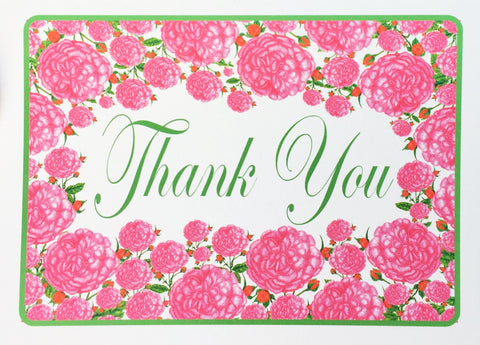 Pink Roses Thank You Notes