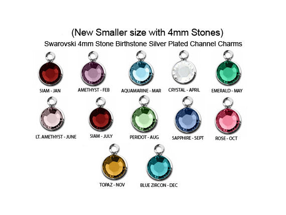 7af01f52a5be 5 New Smaller 4mm Stone Swarovski Birthstone Channel Charms Silver Plated
