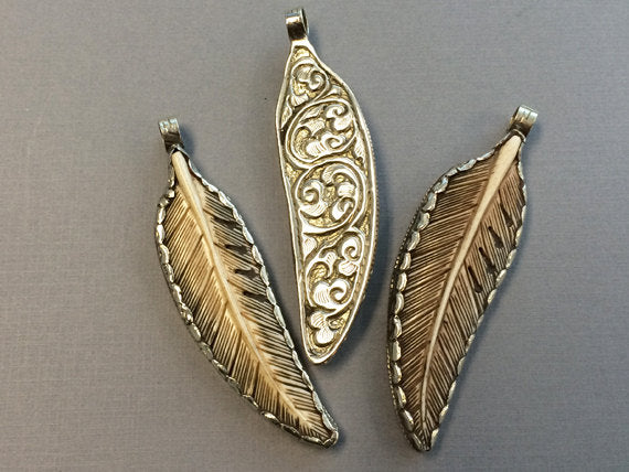 Carved Antique Bone Feather Pendant Nepal Large 3 5 Silver Framed And Backed Repousse Work Ap452s Beadprism