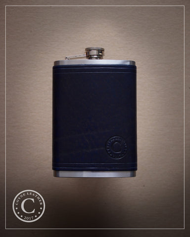 Navy Blue Leather Covered Flask