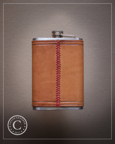 Natural Leather Covered Flask