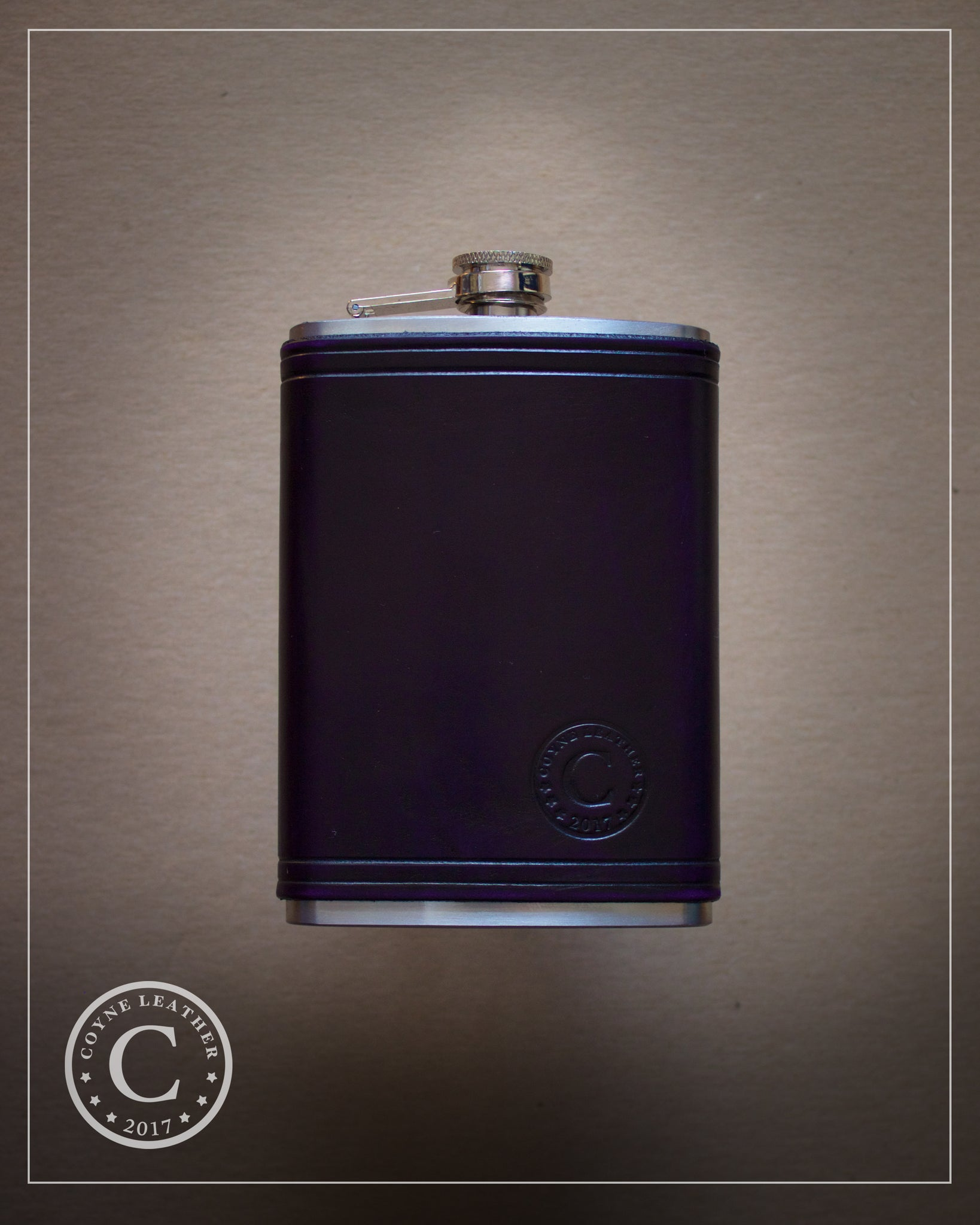 Deep Purple Leather Covered Flask