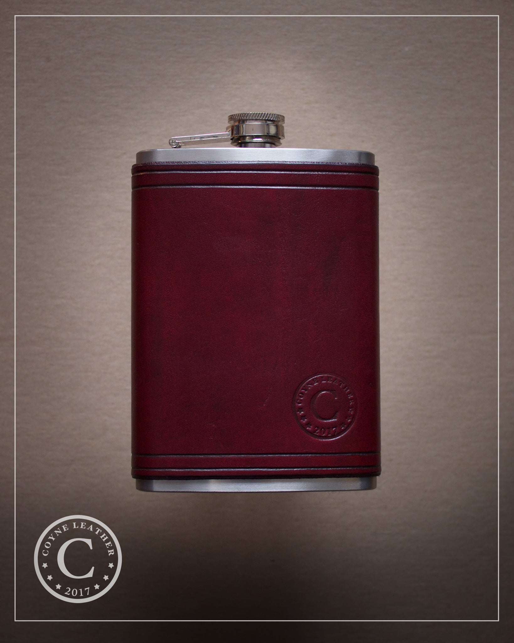 Oxblood Leather Covered Flask