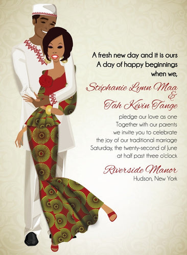 Sweet Love Gambian Traditional Wedding Invitation