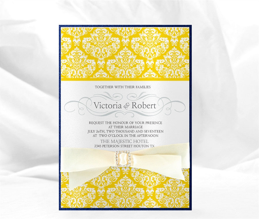 FLORAL DAMASK WEDDING INVITATION