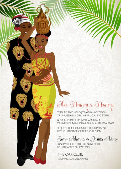 Asa Nwa Nigerian Igbo Traditional Wedding Invitation