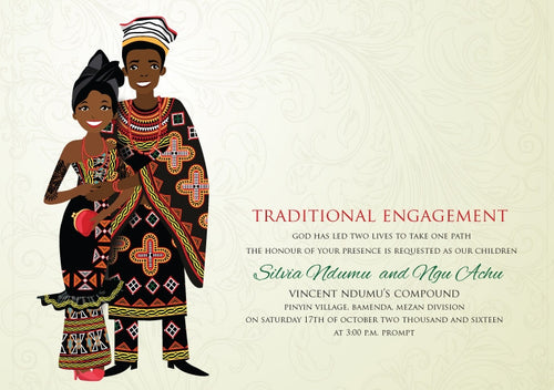 Forever Cameroonian Traditional Wedding Invitation
