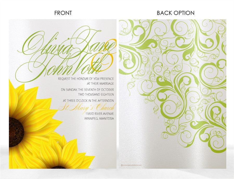 SUNFLOWER WEDDING INVITATION OPTION 2