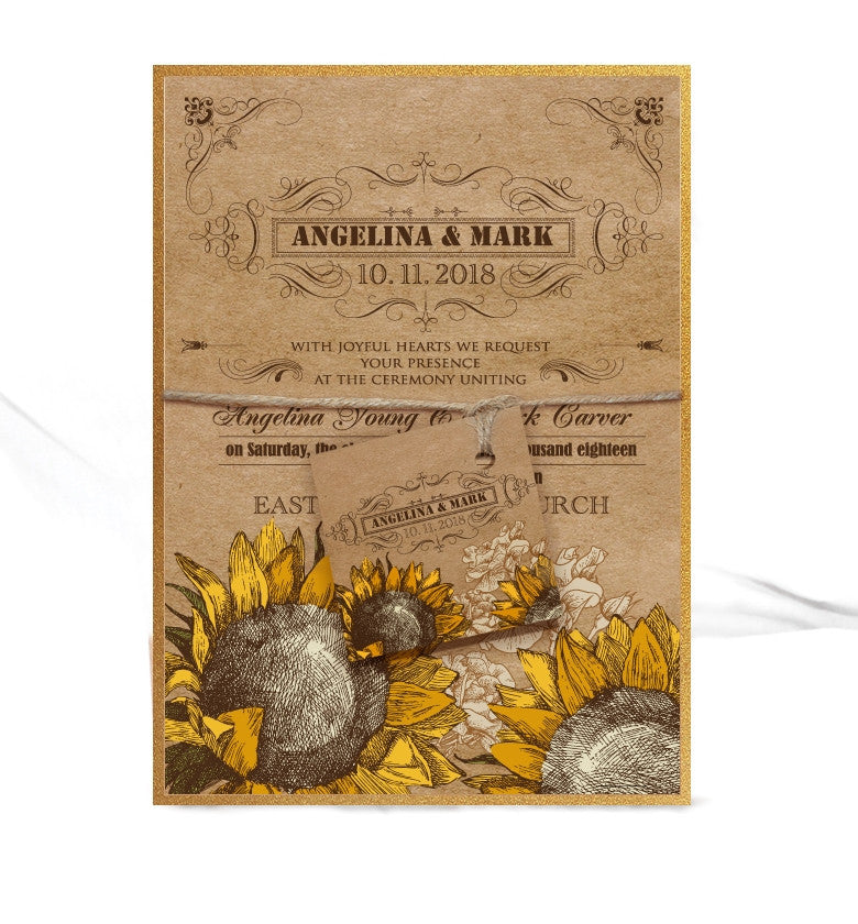 VINTAGE SUNFLOWER WEDDING INVITATION